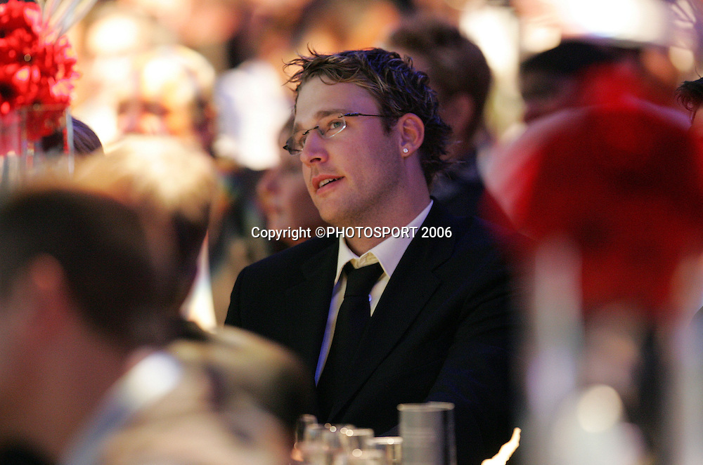 Daniel Vettori, National Bank Cup player of the Year, watches from the audience at the New Zealand Cricket Awards held at Langham Hotel, Auckland, on Thursday 30 March, 2006. Photo: Andrew Cornaga/PHOTOSPORT