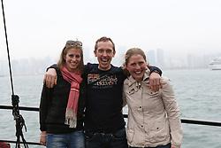 Riders Boat trip Hong Kong harbour<br /> Eleonore Lambillotte, Rik Hemeryck, Karline De Brabander<br /> CSI 5* Longines Hong Kong Masters 2013<br /> © Hippo Foto - Counet Julien