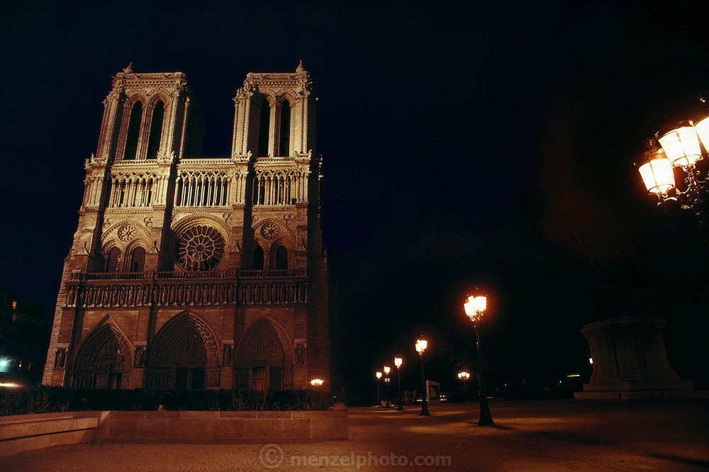 Notre Dame Cathedral at night. Paris, France.