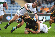 Wasps back row Jack Willis (7) dives for the line during the Gallagher Premiership Rugby match between Wasps and London Irish at the Ricoh Arena, Coventry, England on 20 October 2019.
