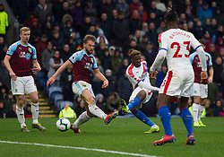 Wilfried Zaha of Crystal Palace (C) scores his sides third goal - Mandatory by-line: Jack Phillips/JMP - 02/03/2019 - FOOTBALL - Turf Moor - Burnley, England - Burnley v Crystal Palace - English Premier League