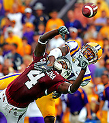 20070908West Columbia,SC--photograph by Gerry Melendez/gmelendez@thestate.com---LSU's Chevis Jackson breaks up a pass intended for University of South Carolina receiver Jason Barnes during South Carolina's game against the LSU Tigers, Saturday, September 22, 2007..
