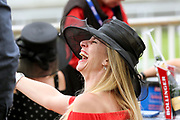Lady laughing at the York Dante Meeting at York Racecourse, York, United Kingdom on 17 May 2018. Picture by Mick Atkins.