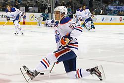 Dec 17, 2011; San Jose, CA, USA; Edmonton Oilers center Anton Lander (57) warms up before the game against the San Jose Sharks at HP Pavilion.  San Jose defeated Edmonton 3-2. Mandatory Credit: Jason O. Watson-US PRESSWIRE