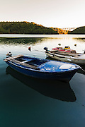 Boats docked on the Kirka River at sunset, Skradin, Dalmatia, Croatia
