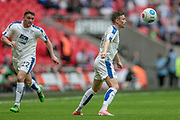 Andy Mangan (Tranmere Rovers) watches as the ball drops in front of him during the Vanarama National League Play Off Final match between Tranmere Rovers and Forest Green Rovers at Wembley Stadium, London, England on 14 May 2017. Photo by Mark P Doherty.