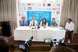 LIVERPOOL, ENGLAND - Thursday, June 19, 2014: Wimbledon Champion Marion Bartoli with Andrey Rublev (RUS), Tournament Director Anders Borg and Tournament Referee Alan Mills at a press conference on Day One of the Liverpool Hope University International Tennis Tournament at Liverpool Cricket Club. (Pic by David Rawcliffe/Propaganda)