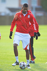 LIVERPOOL, ENGLAND - Tuesday, December 8, 2009: Liverpool's Damien Plessis during a training session at Melwood ahead of the UEFA Champions League Group E match against AFC Fiorentina. (Pic by David Rawcliffe/Propaganda)