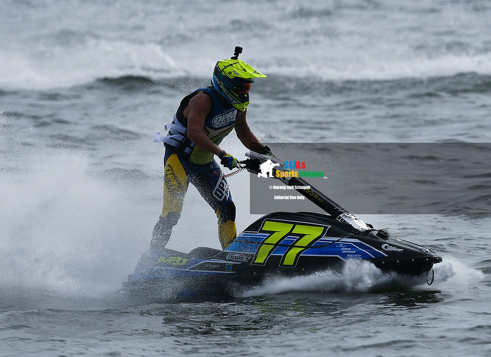 PATTAYA, THAILAND - DECEMBER 09: Mickael Poret (77) of France and MP77 in action during the Pro Ski Grandprix Moto4 at the Thai Airways International Jet Ski World Cup 2018, Jomtien Beach, Pattaya, Thailand on December 09, 2018. <br /> .<br /> .<br /> .<br /> (Photo by: Naratip Golf Srisupab/SEALs Sports Images)<br /> .<br /> Any image use must include a mandatory credit line adjacent to the content which should read: Naratip Golf Srisupab/SEALs Sports Images