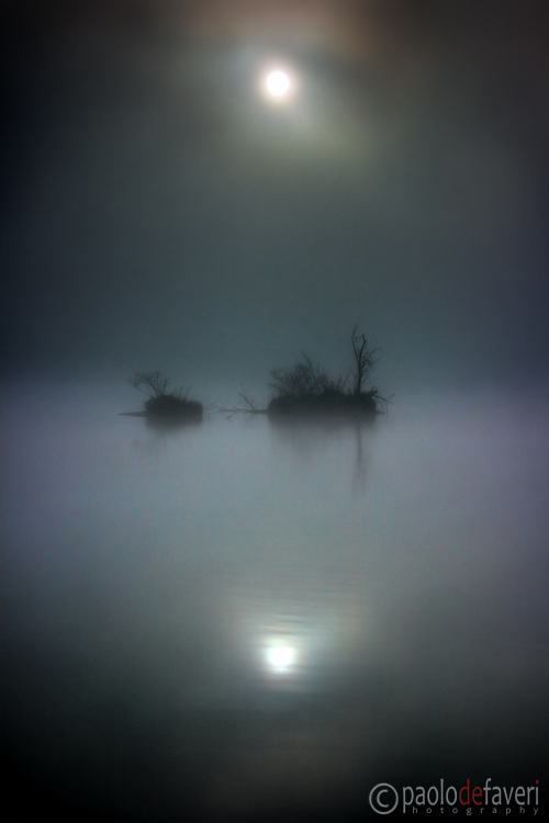 """Two tiny islands floating in the thick fog, as they appeared on a early morning at the beginning of March. Because of the fog and the spooky mood this might look like a night shot, but actually it was  taken at about  8AM. The title comes from """"Star Wars chapter V - Empire strikes back"""", since this picture strongly reminds me of the swamps of the planet Dagobah, where Luke Skywalker goes to meet his master, Yoda. This is instead """"only"""" the Po River near to Carignano, Piedmont, Italy"""