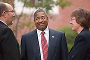 18367President McDavis & Kathy Krendl Welcoming back faculty, staff, and students..Charles McWeeny, Dr. McDavis, Dr. Krendl