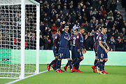 Javier Matias Pastore (psg) scored the third goal, celebration with Thiago Silva (PSG), Neymar da Silva Santos Junior - Neymar Jr (PSG), Marcos Aoas Correa dit Marquinhos (PSG), Daniel Alves da Silva (PSG), Adrien Rabiot (psg), Yuri Berchiche (PSG), Marco Verratti (psg) during the French Championship Ligue 1 football match between Paris Saint-Germain and FC Nantes on November 18, 2017 at Parc des Princes stadium in Paris, France - Photo Stephane Allaman / ProSportsImages / DPPI