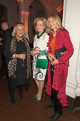 Left to right, DAME VIVIEN DUFFIELD,  LADY ANNUNZIATA ASQUITH and LIZZIE SPENDER at a dinner to celebrate Sir David Tang's 20 year patronage of the Royal Academy of Arts and the start of building work on the Burlington Gardens wing of the Royal Academy held at 6 Burlington Gardens, London on 26th October 2015.