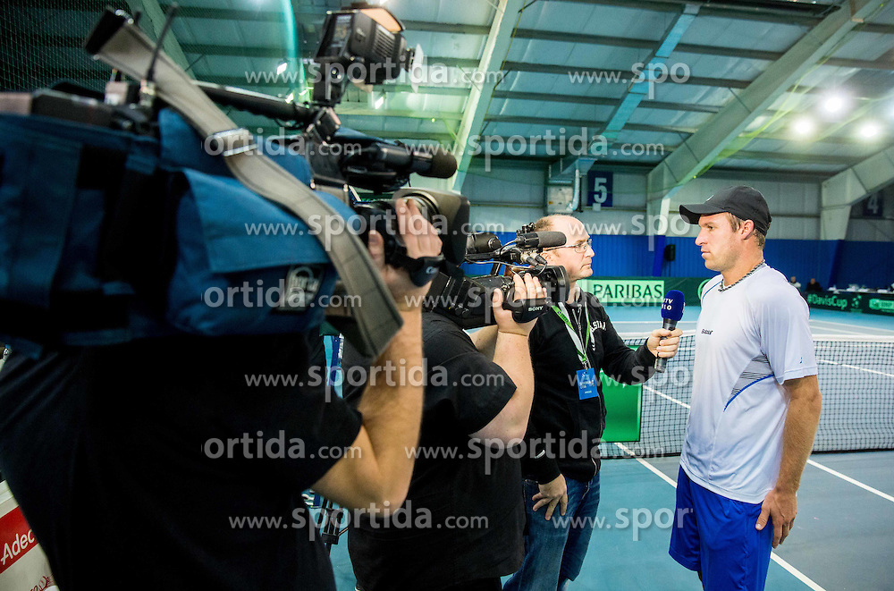 Grega Zemlja of Slovenia during Davis Cup Slovenia vs Lithuania competition, on October 30, 2015 in Kranj, Slovenia. Photo by Vid Ponikvar / Sportida