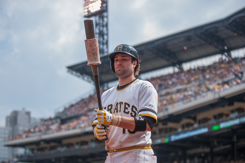 PITTSBURGH, PA - JUNE 08: Neil Walker #18 of the Pittsburgh Pirates warms up on the on-deck circle during the game against the Milwaukee Brewers at PNC Park on June 8, 2014 in Pittsburgh, Pennsylvania. (Photo by Rob Tringali) *** Local Caption *** Neil Walker