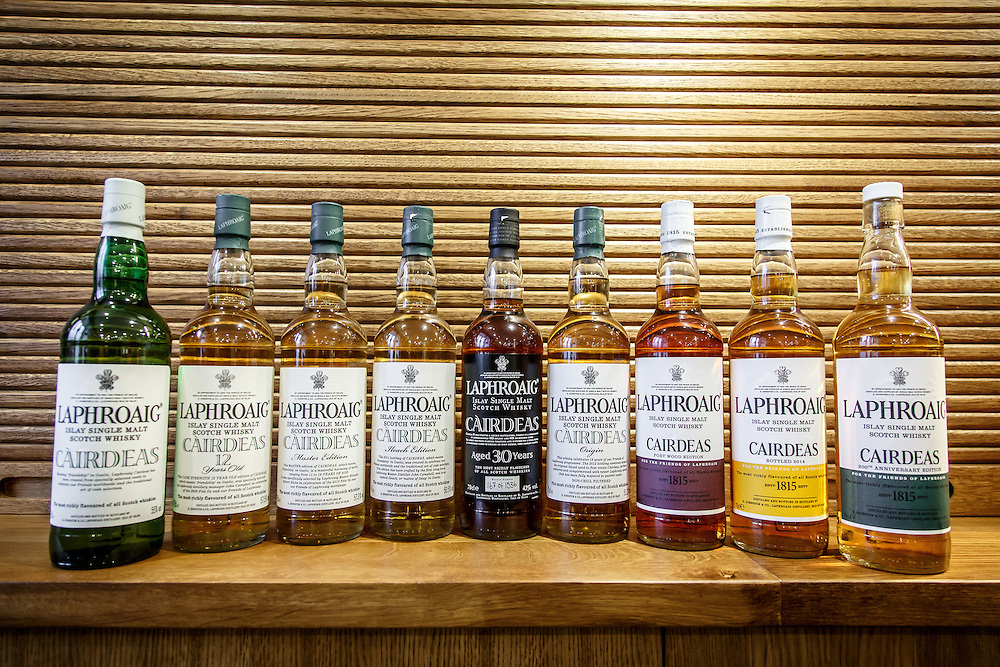 A set of Laphroaig Cairdeas releases for the Friends of Laphroaig on display Laphroaig Distillery at Port Ellen, Isle of Islay, Scotland, July 17, 2015. Gary He/DRAMBOX MEDIA LIBRARY