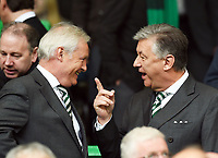 05/10/14 SCOTTISH PREMIERSHIP<br /> CELITC v HAMILTON<br /> CELTIC PARK - GLASGOW<br /> Celtic chief executive Peter Lawwell (right) talks to  chairman Ian Bankier prior to kick-off