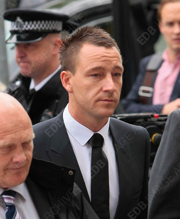 10.JULY.2012. LONDON<br /> <br /> JOHN TERRY ARRIVING AT WESTMINSTER MAGISTRATES COURT FOR DAY 2 OF HIS RACISM CASE WITH ANTON FERDINAND.<br /> <br /> BYLINE: EDBIMAGEARCHIVE.CO.UK<br /> <br /> *THIS IMAGE IS STRICTLY FOR UK NEWSPAPERS AND MAGAZINES ONLY*<br /> *FOR WORLD WIDE SALES AND WEB USE PLEASE CONTACT EDBIMAGEARCHIVE - 0208 954 5968*