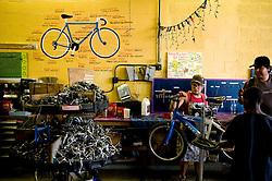 3 SEPT 2009-The Derailer Bicycle Collective is a free, non-profit, collectively run community bicycle shop on the west side of Denver. The collective offers parts, frames, use of tools, and knowledge in repairing or building up just about any kind of bike.