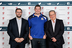 James Phillips of Bristol Rugby poses during the Player Sponsors' Dinner in the Heineken Lounge at Ashton Gate - Mandatory byline: Rogan Thomson/JMP - 08/02/2016 - RUGBY UNION - Ashton Gate Stadium - Bristol, England - Bristol Rugby Player Sponsors' Dinner.