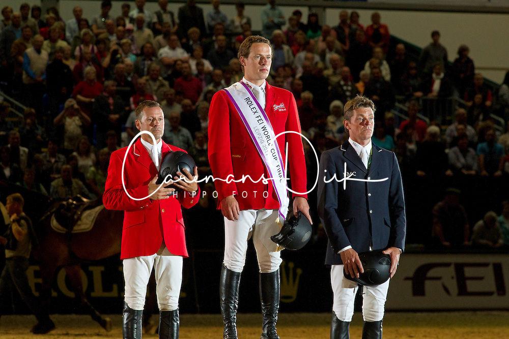 Podium World Cup Final<br /> 1. Christian Ahlmann<br /> 2. Eric Lamaze<br /> 3. Jeroen Dubbeldam<br /> Rolex FEI World Cup Final Leipzig 2011<br /> &copy; Dirk Caremans