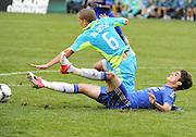 July 18, 2012: CenturyLink Field, Seattle, WA: Chelsea FC midfielder Lucas Piazon battles Sounders Osvaldo Alonso at the World Football Challenge. Chelsea FC defeated the Seattle Sounders 4-2.