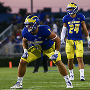 Delaware Linebacker TROY REEDER (9) lines up in the second quarter of a week one game between the Delaware Blue Hens and the Delaware State Hornets, Thursday, Sept. 01, 2016 at Tubby Raymond Field at Delaware Stadium in Newark, DE.