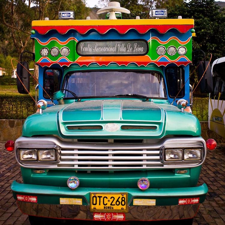 Colombian party bus (chiva) in Villa de Leyva, Boyacá, Colombia.