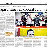 Tekst en beeld zijn auteursrechtelijk beschermd en het is dan ook verboden zonder toestemming van auteur, fotograaf en/of uitgever iets hiervan te publiceren <br /> <br /> Parool 10 november 2014: Syrisch-Koerdische politicus in Amsterdam op bezoek