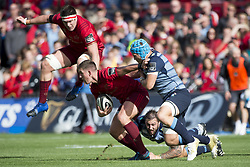 September 30, 2017 - Limerick, Ireland - Ian Keatley of Munster with the ball in action during the Guinness PRO14 Conference A Round 5 match between Munster Rugby and Cardiff Blues at Thomond Park in Limerick, Ireland on September 30, 2017  (Credit Image: © Andrew Surma/NurPhoto via ZUMA Press)