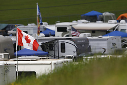 June 1, 2018 - Long Pond, Pennsylvania, United States of America - Flags wave in the breeze during practice for the Pocono 400 at Pocono Raceway in Long Pond, Pennsylvania. (Credit Image: © Chris Owens Asp Inc/ASP via ZUMA Wire)
