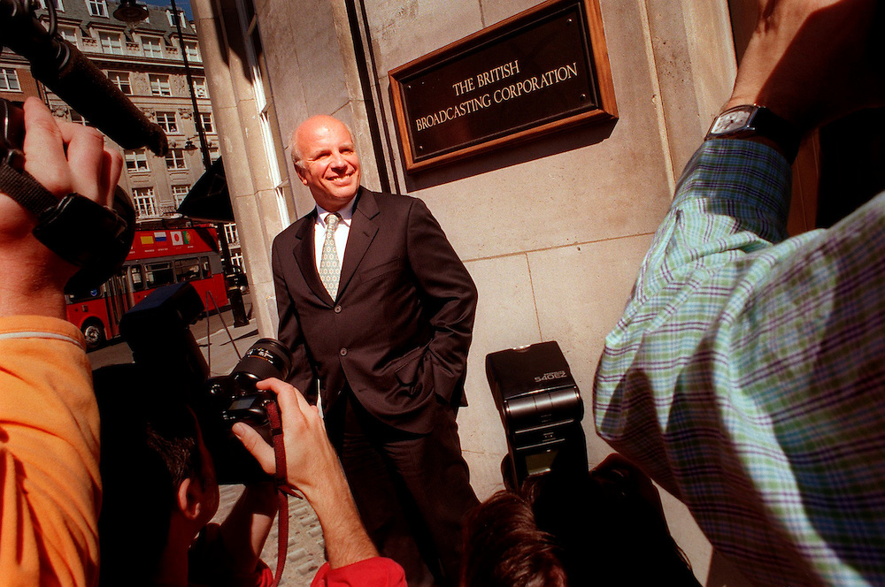 Greg Dyke BBC Director General June 1999.outside BBC  Broadcasting House in Great Portland Street after the announcement that he will take over the post of Director General when Sir John Birt steps down later in the year .