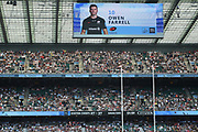 Scoreboard shows Saracens fly-half Owen Farrell (10) during the Gallagher Premiership Rugby Final match between Exeter Chiefs and Saracens at Twickenham, Richmond, United Kingdom on 1 June 2019.