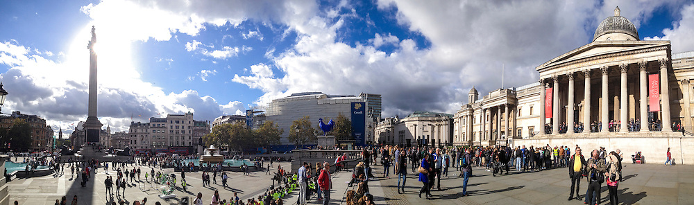 Panorama of the National Gallery in Trafalgar Square London, England.