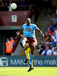 Hakeeb Adelakun of Scunthorpe United wins a header - Mandatory by-line: Matt McNulty/JMP - 06/08/2016 - FOOTBALL - Glanford Park - Scunthorpe, England - Scunthorpe United v Bristol Rovers - Sky Bet League One
