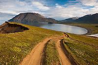 View over Nausteyrarvík by valley Flateyjardalur, North Iceland. Horft yfir Nausteyrarvík við Flateyjardal.