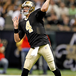 September 1, 2011; New Orleans, LA, USA; New Orleans Saints quarterback Sean Canfield (4) against the Tennessee Titans during the first quarter of a preseason game at the Louisiana Superdome. Mandatory Credit: Derick E. Hingle
