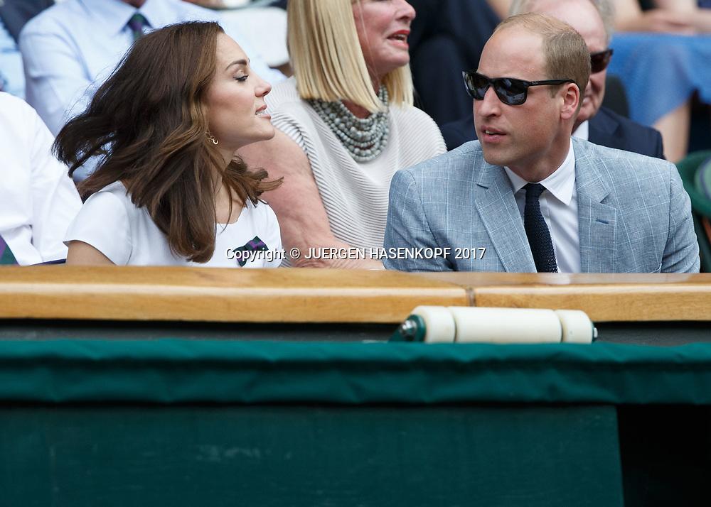 Wimbledon Feature, Herren Endspiel, Finale, Prinz William und Ehefrau Catherine, Herzogin von Cambridge in der Ehrenloge,Royal Box,Siegerehrung, Praesentation,<br /> <br /> Tennis - Wimbledon 2017 - Grand Slam ITF / ATP / WTA -  AELTC - London -  - Great Britain  - 16 July 2017.