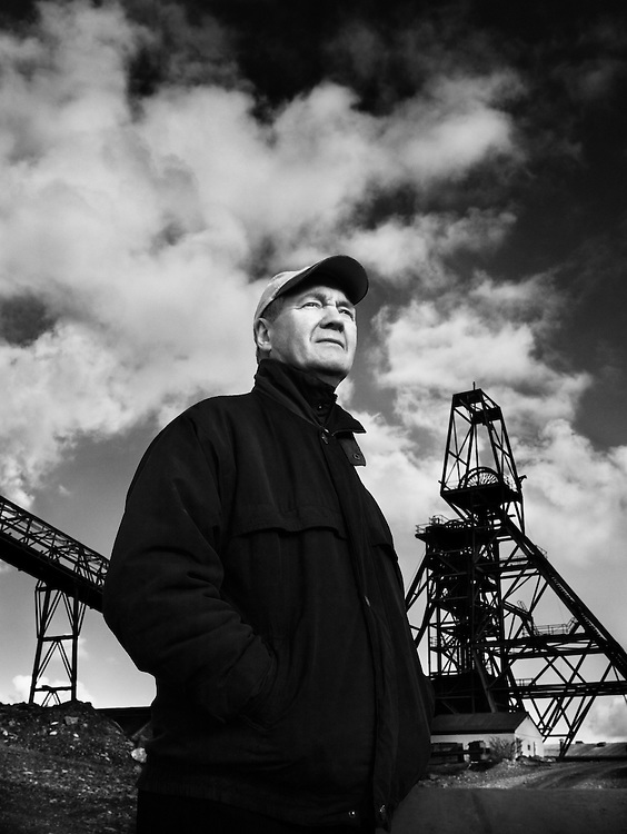 Allen Buckley, former miner, in front of the headgear on 'New Cooks Kitchen Shaft', South Crofty, where he once worked.<br /> <br /> This was Europe's last working tin mine.