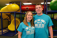 Beth Howell (left) and her brother Ryan Eavers   pose for a photo at Bouncing Off The Walls Thursday September 3, 2015 in Falls Township, Pennsylvania.  (Photo by William Thomas Cain)