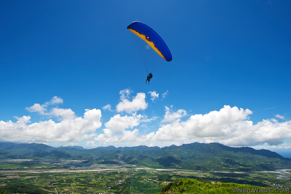 Paragliding on the Gaotai near Taitung, Taiwan.