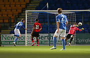 06/10/2017 - St Johnstone v Dundee - Dave Mackay testimonial at McDiarmid Park, Perth, Picture by David Young - Dundee goalkeeper Elliott Parish makes a great save to deny St Johnstone's Denny Johnstone
