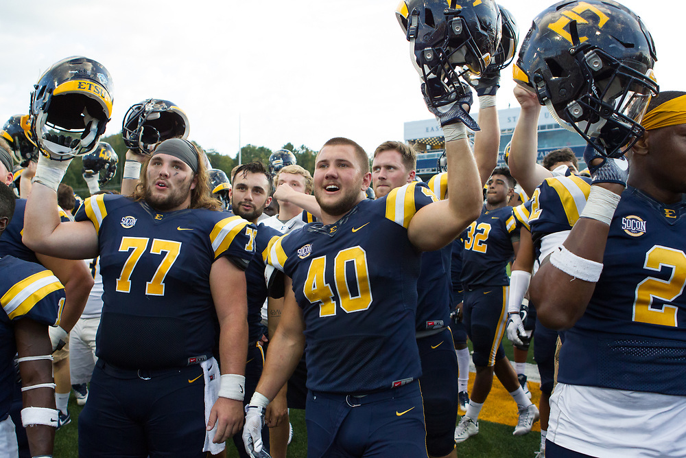 September 23, 2017 - Johnson City, Tennessee -  William B. Greene Jr. Stadium: ETSU offensive lineman Garrett Curtis (77), ETSU kicker JJ Jerman (85), ETSU linebacker Dylan Weigel (40), ETSU linebacker Trey Quillin (11)<br /> <br /> Image Credit: Dakota Hamilton/ETSU