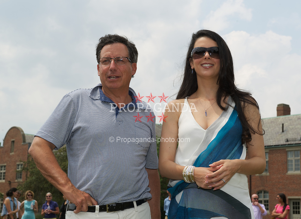 BOSTON, MA - Wednesday, July 18, 2012: Liverpool co-owner and NESV Chairman Tom Werner with Linda Pizzuti, wife of Liverpool FC owner John W. Henry, during a community event at the Perkins School for the Blind during the club's North American pre-season tour. (Pic by David Rawcliffe/Propaganda)
