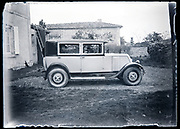 woman sitting in an Renault automobile rural France circa early 1930s
