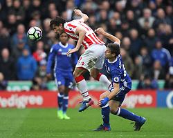 Ramadan Sobhi of Stoke City (L) and Cesar Azpilicueta of Chelsea in action - Mandatory by-line: Jack Phillips/JMP - 18/03/2017 - FOOTBALL - Bet365 Stadium - Stoke-on-Trent, England - Stoke City v Chelsea - Premier League