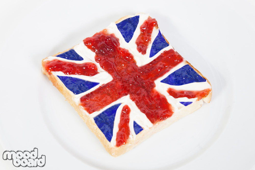 British flag represented on bread over white background
