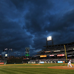 PHILADELPHIA, PA - APRIL 05: Dark clouds blow past the city as Ben Francisco #10 of the Philadelphia Phillies swings at a pitch by Chris Young #55 of the New York Mets at Citizens Bank on April 5, 2011 Park in Philadelphia, Pennsylvania. (Photo by Drew Hallowell/Getty Images)  *** Local Caption *** DeSean Jackson;Chris Young