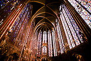 Stock  / The stained glass windows of St. Chappelle are very tall and colorful.