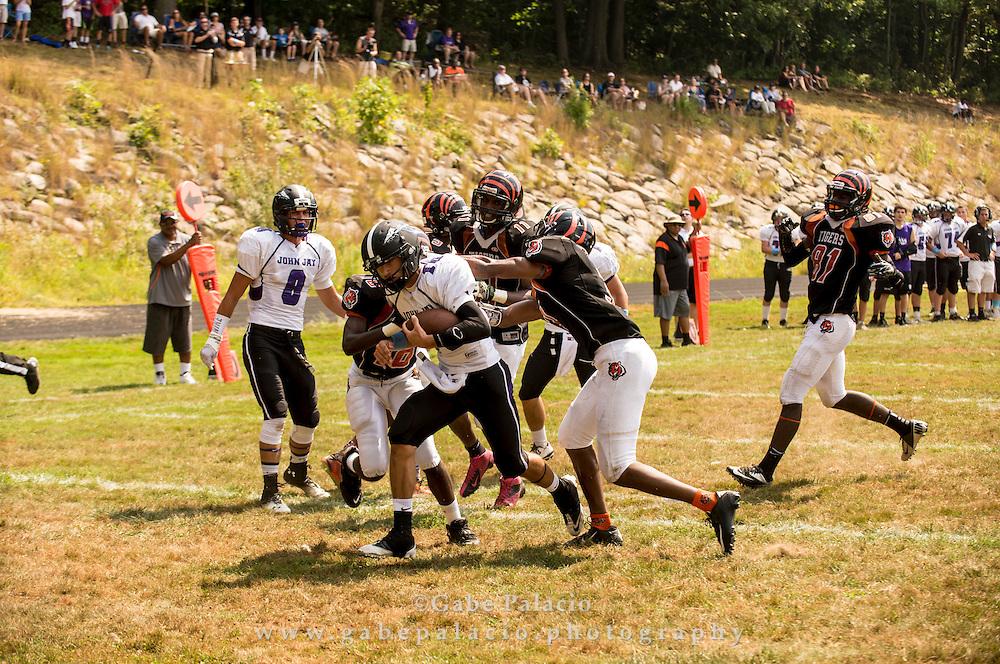 John Jay Varsity football at Spring Vallley on September 6, 2014. (photo by Gabe Palacio)